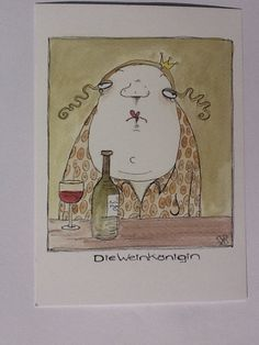 Este articulo no esta disponible - Tarjeta postal Wine Queen de KITTIEKATSTUDIO en Etsy, € Estás en el lugar correcto para home - Art And Illustration, Character Illustration, Pencil Art Drawings, My Drawings, Clive Bell, Develop Pictures, Funny Character, Panel Art, Drawing For Kids