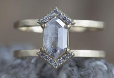 DOUBLE PAVE HALO GREY CLEAR HEX DOUBLE BAND YELLOW GOLD ENGAGEMENT RING :: Alexis Russell