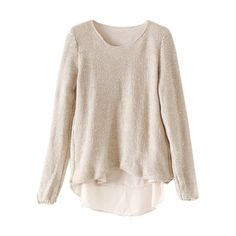 Montage Sheer Lining Apricot Jumper (€24) ❤ liked on Polyvore featuring tops, sweaters, jumpers sweaters, pink top, lined sweater, see through tops and jumper tops