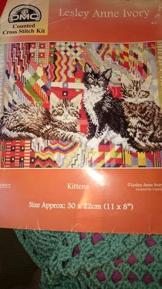 Cross stitch kittens on cushion picture