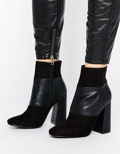 Shop New Look Suedette Panelled Heeled Ankle Boots at ASOS.