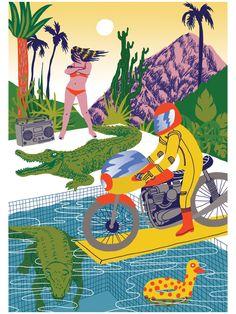 VO | Valérie Oualid : Agent d'illustrateurs | Ludwick Hernandez | L'été Illustrations, Modern, Movie Posters, Color, Artist, Animaux, Trendy Tree, Illustration, Film Poster