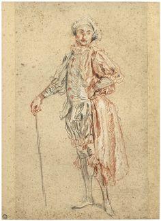 Study Of A Standing Actor, In The Costume Of Mezzetin - Jean Antoine Watteau - Valenciennes 1684 - 1721 Nogent-Sur-Marne