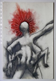 NO TITLE - 1996 (charcoal, sanguine and cosmetics on cardboard) www.facebook.com/cosegiaviste #artcontemporain #art #contemporaryart #visualart #painting #artgallery #artecontemporanea #artgallery #artcollectors #cosegiaviste