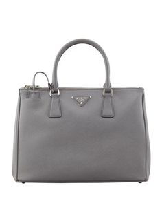 Saffiano+Lux+Tote+Bag,+Gray+(Marmo)+by+Prada+at+Neiman+Marcus.  $2230  Color Gray