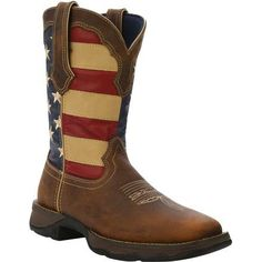 MSRP $149.99 OUR PRICE $139.99 This Lady Rebel by Durango Western Boot will be the most attention-grabbing item in your closet. The stunning upper has the American flag on the shaft, full-grain brown