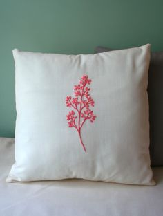 Coral Pink Tree Branch Pillow