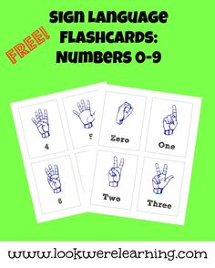 Learning to count in sign language is easy with this set of free ASL number flashcards!