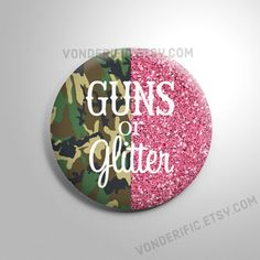 Camo Guns or Glitter Gender Reveal Party Favors  2.25 inch