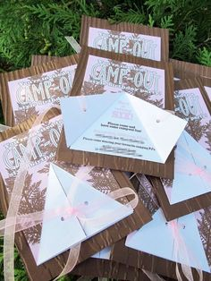 Camping birthday party invitations! See more party ideas at http://CatchMyParty.com!