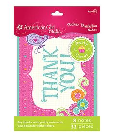 Take a look at this Thank You Note Pack - Set of Two by American Girl Crafts on #zulily today! $10 !!