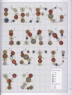 Alphabet buttons #cross #stitch