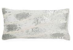 Ikat 7x15 Silk-Blend Pillow, White/Gray on OneKingsLane.com