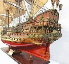 """CaptJimsCargo - XL Spanish San Felipe Wood Model 56"""" Huge Tall Sailing Ship, (http://www.captjimscargo.com/model-tall-ships/warships/xl-spanish-san-felipe-wood-model-56-huge-tall-sailing-ship/) This huge San Felipe tall sailing ship model measures 56"""" (4.66' feet) long from bow to stern. It's a fantastic ship model that will be a show stopping conversation piece for any room or office and is sure to become a treasured family heirloom."""