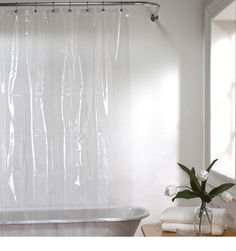 Extra Wide Shower Curtain For A Clawfoot Tub White With Magnets Curtainhomes T