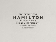 1025 Hamilton Nº 001 designed by Jessie Jay for True Hand. Connect with them on Dribbble; the global community for designers and creative professionals. Vintage Typography, Typography Letters, Lettering, Graphic Design Typography, Branding Tools, Logo Branding, Branding Design, Logo Inspiration, Classic Branding