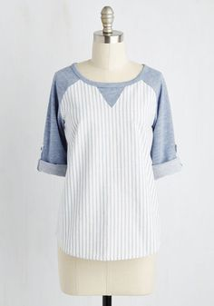 Walk in the Ballpark Top - Cotton, Knit, Woven, Blue, White, Stripes, Print, Buttons, Casual, Menswear Inspired, Athletic, 3/4 Sleeve, Spring, Good, Scoop, Mid-length, Lounge