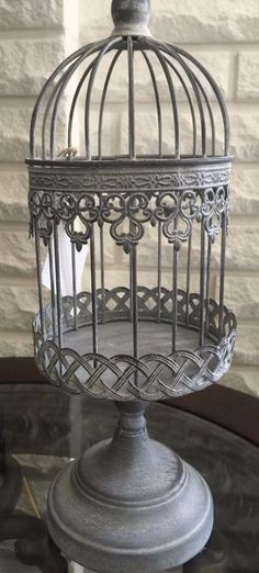Gorgeous Antique Beige Small Iron Bird Cage on Stand
