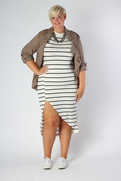 Plus Size Clothing for Women - Nautical Striped Fitted Dress - Ivory (Sizes 14 - 20) - Society+ - Society Plus - Buy Online Now!