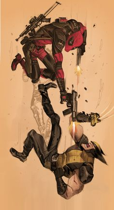 Deadpool vs Wolverine by Dan Mora, via Behance Comic Book Characters, Marvel Characters, Comic Character, Comic Books Art, Comic Art, Book Art, Marvel Comics, Hq Marvel, Marvel Heroes