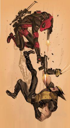 Inspiration: herochan: Deadpool vs. Wolverine Created by Dan...