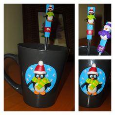 Christmas penguin mug & spoon with polymer  clay Sales contact: https://www.facebook.com/gyurmacsodak @csontosadri