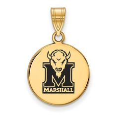 Sterling Silver w/GP LogoArt Marshall University Medium Enamel Disc Pendant