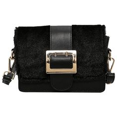 Black Buckle Strap Splicing Crossbody Bag ($12) ❤ liked on Polyvore featuring bags, handbags and shoulder bags
