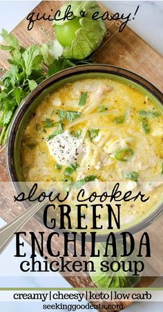 The best keto soup! Creamy green enchiladas chicken soup is so tasty and easy to make in the crockpot. Keto slow cooker Mexican soup is the perfect weeknight dinner recipe. Easily adapted Instant Pot recipe so you've got even more options. A perfect Mexican recipe for taco Tuesdays! A perfect keto slow cooker dinner idea! #keto #mexican #soup #tacotuesday #slowcooker #crockpot #lowcarb #sugarfree #seekinggoodeats #instantpot