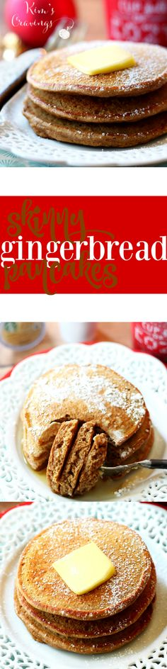 These fluffy Skinny Gingerbread Pancakes are bursting with warm holiday spices. Serve them up Christmas morning or any morning for the most perfect seasonal treat!