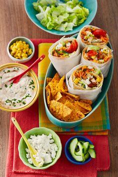 Burrito-Fiesta mit Joghurtsauce