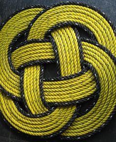 Bumblebee Black & Yellow Round Rope Mat by AlaskaRugCompany, $62.99