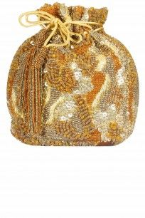 Lovetobag Gold and orange themis bucket pouch