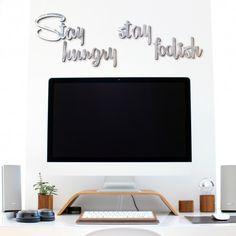 """Scritta in alluminio con la celebre frase di Steve Jobs """"Stay hungry stay foolish"""". Originale idea d'arredo per la decorazione delle pareti. Si realizzano scritte personalizzate. Ci trovi su www.comprocomodo.it  #scritte #decorazionecasa #homedecor #stayhungrystayfoolish #stevejobs #alluminio #arredamento #arredomoderno #design #madein italy #matrimonio #matrimoni #wedding #arredoufficio"""