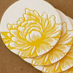 Letterpress Coasters  Sunshine Yellow Blossoming by RubyPress, $12.00