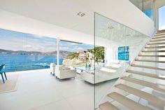 Waterfront Designer Villa in Mallorca - my future vacation home! White Interior Design, Interior Design Inspiration, Design Ideas, Coastal Living Rooms, Waterfront Homes, House Colors, Villas, Interior Architecture, Luxury Homes
