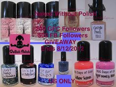 Naked Without Polish: 200 GFC FOLLOWERS/500 FB FOLLOWERS GIVEAWAY http://nakedwithoutpolish.blogspot.com/2012/07/200-gfc-followers500-fb-followers.html?spref=fb#