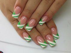 Green & white stripe tips Creative Nail Designs, Cute Nail Designs, Creative Nails, Really Cute Nails, Great Nails, Sexy Nails, Hot Nails, French Tip Acrylic Nails, Green Nail Art