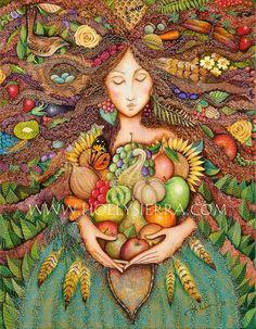 La diosa de la cosecha una tarjeta de por HollySierraArt en Etsy