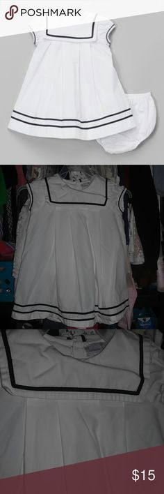 Sailor dress Very cute dress.1st pic is not my dress but it is the same one doesn't come with bloomers.It kind of shows some yellow stains in front part with the flash,see pic 5 closer. fantaisie kids Dresses