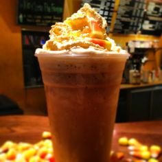 Good thing we have a FROZEN Candy Corn Frappe for this FIRST DAY OF SUMMER. #ItsHotYall