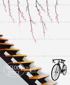 Romantic sakura Home room Decor Removable Wall Sticker/Decal/Decoration