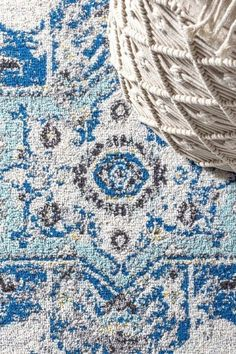 """Rugs are often described as """"art for your floors"""" and this modern Persian style is a masterpiece. In several shades of blue, the design is both classic and painterly. Power loomed and constructed of polypropylene, it would be great in high traffic living spaces. #JonathanY #AreaRugs #BestRugs #HomeDecor Cool Rugs, Light Installation, Power Loom, Colorful Rugs, Shades Of Blue, Color Inspiration, Persian, Floors, Color Schemes"""