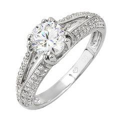 Certified Diamond Engagement Ring 18k White Gold 2.06 Carat Round Cut #DiamondsByElizabeth #SolitairewithAccents