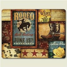 """Rodeo Western Cowboys 15 x 11.5 inch Tempered Glass Cutting Board by Highland Graphics, Inc.. $19.99. Measures approx. 11.5"""" h x 15"""" w. Protective clear rubber feet. Constructed of durable tempered glass. Dishwasher safe, heat resistant, safe on knives. Hygienic and easy to clean. No matter what theme you have created for your home, this cutting board's artwork and quality will provide enjoyment for entertaining and functionality in your kitchen or dining room."""