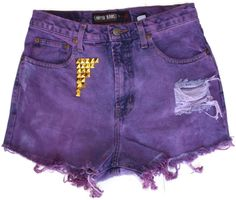High Waisted Distressed Shorts Purple Studded Sz 8 Destroyed Dyed  Festival   #Limited #CasualShorts