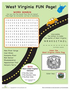Worksheets: West Virginia Fun Facts