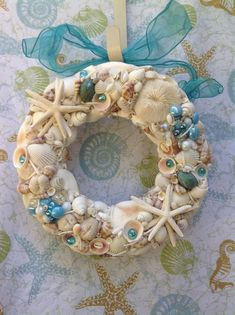 Seashell Coastal Wreath - Beach Themed Shell Decoration with Turquoise Teal Accents - Perfect Gift