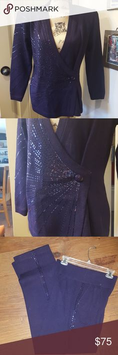 """St. John Size 10 Purple Sweater Knit Outfit In excellent condition.  Jacket closes with 2 snaps and a hook/eye.  Another snap located higher up for modesty.  Shoulder pads.  20"""" from armpit to armpit and 17"""".  Pants are knit and have the same sequin design down the side.  Waist laying flat measures 14"""" and has elastic stretch.  Inseam is 30.5"""". Two pockets in front. St. John Other"""