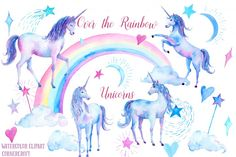 Watercolor Over the Rainbow Unicorns By Cornercroft